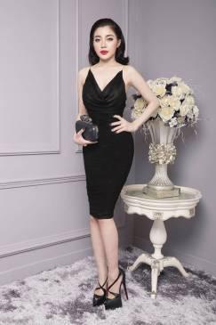 Đầm đen ôm body cổ đỗ thiết kế đơn giản cực tôn dáng #874