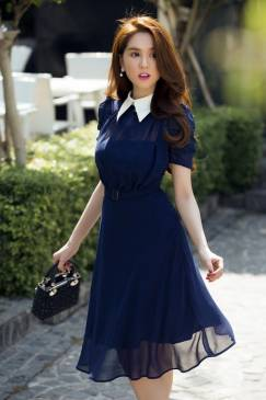 Đầm voan xòe dự tiệc thiết kế trẻ trung như Ngọc Trinh #875