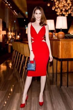 Đầm đỏ ôm body hở lưng cutout cực tôn dáng như Ngọc Trinh #887