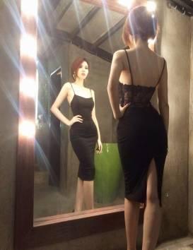 Đầm đen ôm body 2 dây thiết kế pha ren sang trọng #889