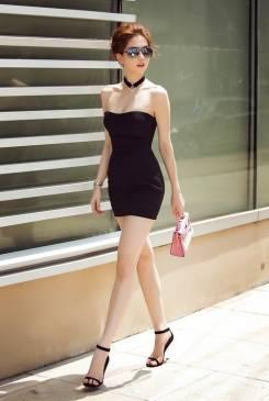 Đầm ống đen ngắn ôm body Ngọc Trinh thiết kế đơn giản #861