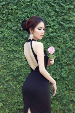 Đầm đen hở lưng đẹp thiết kế ôm body cực tôn dáng #899