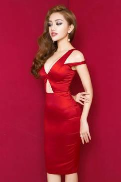 Đầm đỏ phi bóng đẹp thiết kế ôm body cực tôn dáng #916