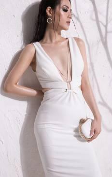 Đầm trắng ôm body khoét ngực thiết kế cutout cực sexy #926