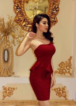 Đầm đỏ bọc đô lệch vai thiết kế peplum ôm body tuyệt đẹp #928