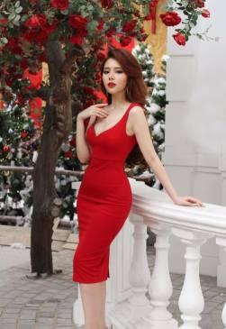 Đầm đỏ cúp ngực hai dây thiết kế ôm body đơn giản #930