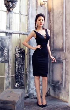 Đầm đen ôm body đơn giản thiết kế tôn dáng, quý phái #934