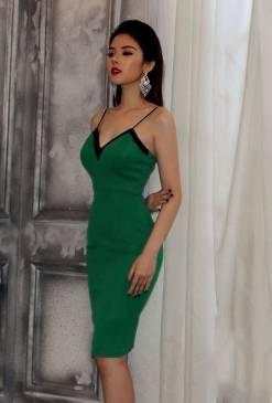 Đầm cúp ngực 2 dây thiết kế xanh lá viền đen tuyệt đẹp #939