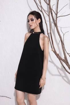 Đầm suông màu đen thiết kế đơn giản sang trọng #946