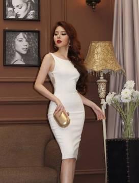 Đầm trắng ôm body đẹp thiết kế pha ren ở lưng #955