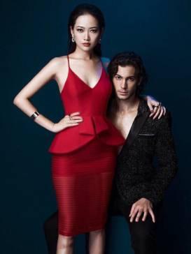 Đầm đỏ peplum ôm body thiết kế 2 dây pha ren sọc #959