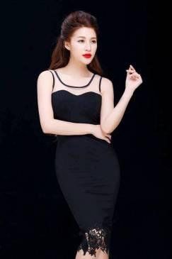 Đầm ôm body màu đen thiết kế pha ren sang trọng #970