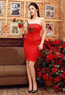 Đầm đỏ ống dự tiệc thiết kế peplum ôm body tôn dáng #972