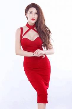 Đầm cúp ngực màu đỏ thiết kế ôm body tuyệt đẹp #973
