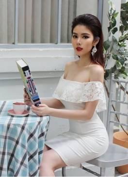 Đầm trắng trễ vai ôm body thiết kế pha ren dễ thương #978