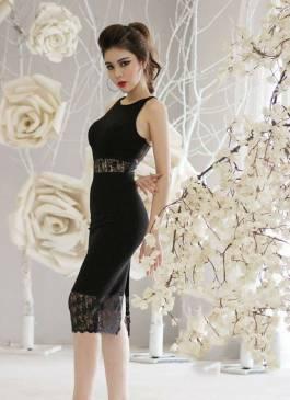 Đầm đen dự tiệc sang trọng thiết kế phối ren ôm body #982