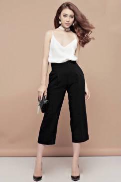 Set quần áo trẻ trung thiết kế quần suông đen lửng #1001