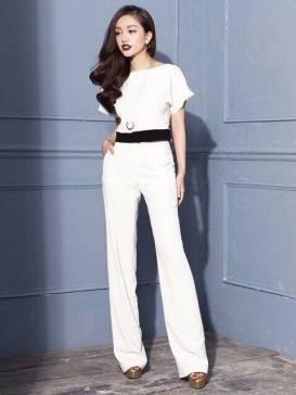Bộ quần áo rời trắng thiết kế quần ống suông tuyệt đẹp #1002