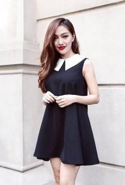 Đâm suông đen đẹp thiết kế cổ perter pan tinh tế #1004