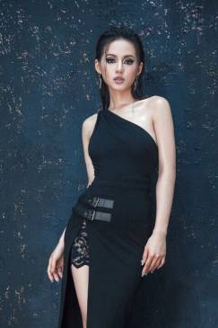 Đầm đen lệch vai sang trọng thiết kế pha ren ôm body đẹp #1008