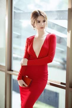 Váy ôm body dài tay khoét ngực sexy như Ngọc Trinh #1014