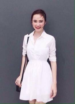 Váy voan trắng xòe dễ thương như Angela Phương Trinh #1016
