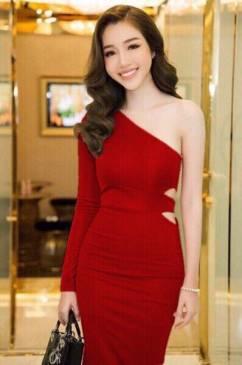 Đầm ôm body trẻ trung thiết kế lệch vai 1 tay cá tính #1009