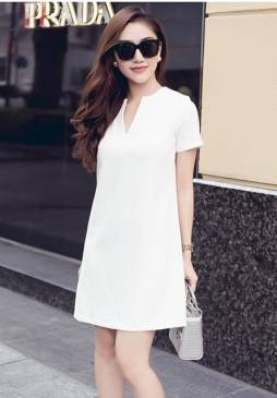 Đầm suông màu trắng thiết kế tay ngắn đơn giản #1040