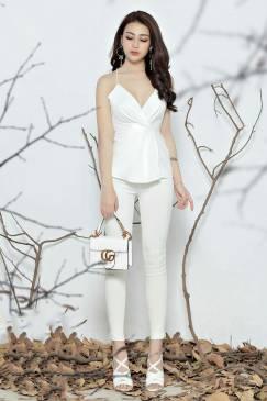 Set quần áo rời thiết kế áo 2 dây quần ôm dài trắng #1037
