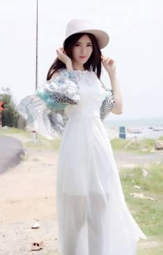 Đầm maxi voan trắng thiết kế pha ren lông công tuyệt đẹp #1045