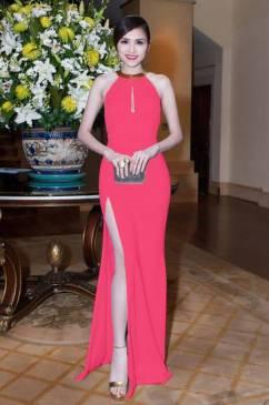 Váy dạ hội xẻ tà thiết kế đơn giản ôm body cổ kiềng #1047