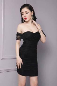 Váy trễ vai ôm body thiết kế lưới nhún cực phong cách #1048