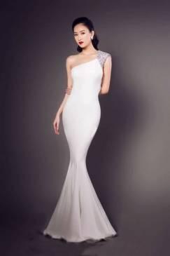 Đầm dài đuôi cá thiết kế lệch vai phối kim sa đẹp #1054
