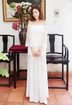 Váy maxi dự tiệc cưới thiết kế vai ngang dễ thương #1058