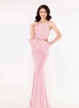 Đầm dạ hội trẻ trung thiết kế nơ eo dễ thương duyên dáng #1065