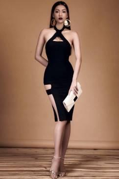 Váy ôm body màu đen thiết kế xẻ hông cực tôn dáng #1072