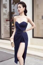 Váy ôm body màu đen thiết kế xẻ hông cực tôn dáng #1074