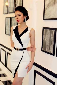 Váy ôm body trắng thiết kế giả vest hiện đại, tinh tế #1078