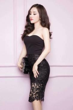 Đầm ống đen ôm body thiết kế pha ren tuyệt đẹp #1084
