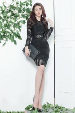 Đầm ren đen ôm body tay dài đơn giản, trẻ trung #1085