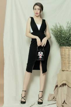 Bộ Váy áo dễ thương thiết kế xẻ giữa ôm body tôn dáng #1089