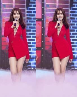Đầm đỏ ôm body tay dài thiết kế đan dây Ngọc Trinh #1093