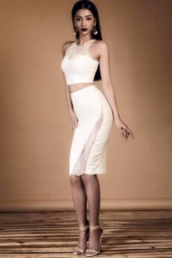 Bộ váy áo croptop đẹp thiết kế phối ren ôm body #1098