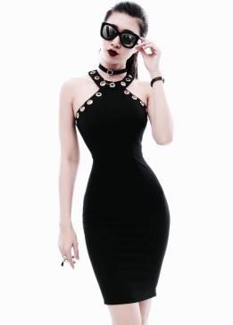 Đầm ôm body màu đen thiết kế đơn giản tôn dáng #1103