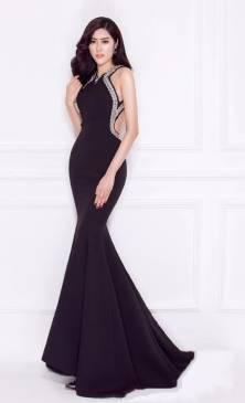 Đầm dạ hội hở lưng thiết kế viền ren sang trọng #1100