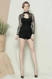 Jumpsuit ngắn màu đen thiết kế pha ren tay dài đẹp #1105