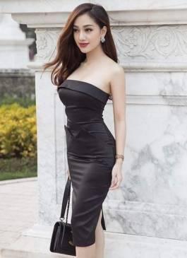 Đầm ống đen phi bóng thiết kế ôm body đơn giản #1110