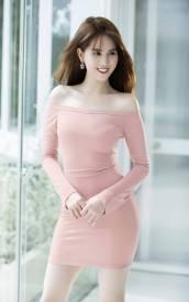 Đầm trễ vai Ngọc Trinh thiết kế ôm body tay dài đẹp #1111