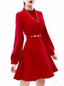 Đầm xòe đỏ tay dài thiết kế đan eo tuyệt đẹp #1118