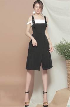 Bộ áo đầm dễ thương thiết kế chéo tà 2 túi tươi trẻ #1115